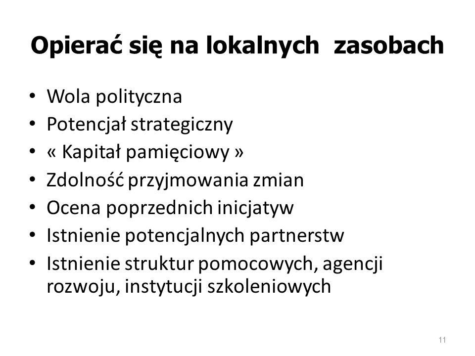 11 Opierać się na lokalnych zasobach Wola polityczna Potencjał strategiczny « Kapitał pamięciowy » Zdolność przyjmowania zmian Ocena poprzednich inicjatyw Istnienie potencjalnych partnerstw Istnienie struktur pomocowych, agencji rozwoju, instytucji szkoleniowych