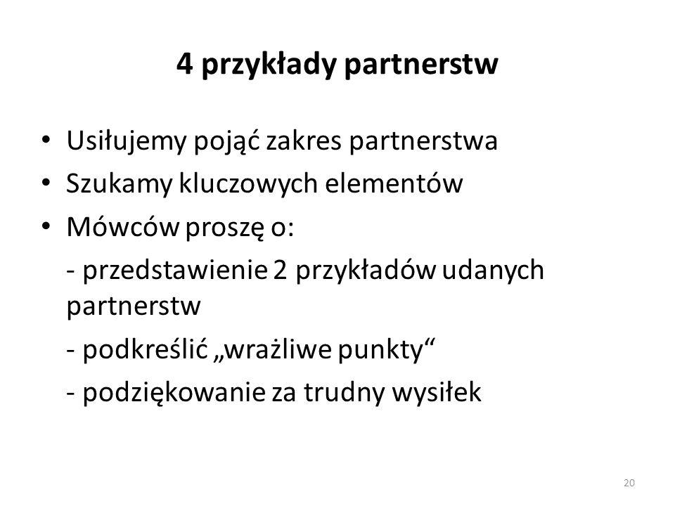 """4 przykłady partnerstw Usiłujemy pojąć zakres partnerstwa Szukamy kluczowych elementów Mówców proszę o: - przedstawienie 2 przykładów udanych partnerstw - podkreślić """"wrażliwe punkty - podziękowanie za trudny wysiłek 20"""