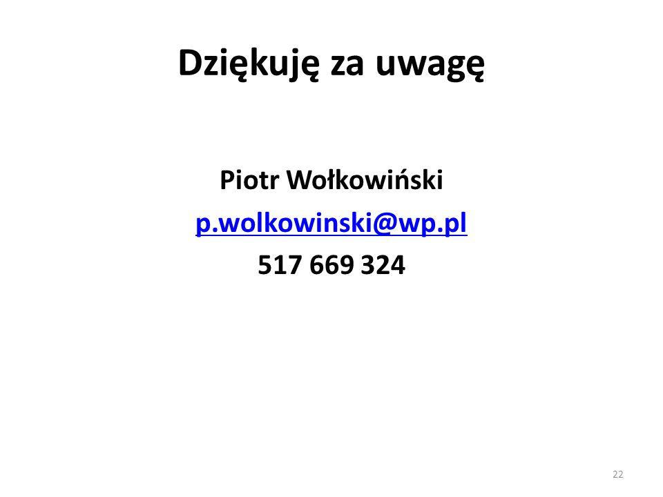 22 Dziękuję za uwagę Piotr Wołkowiński p.wolkowinski@wp.pl 517 669 324