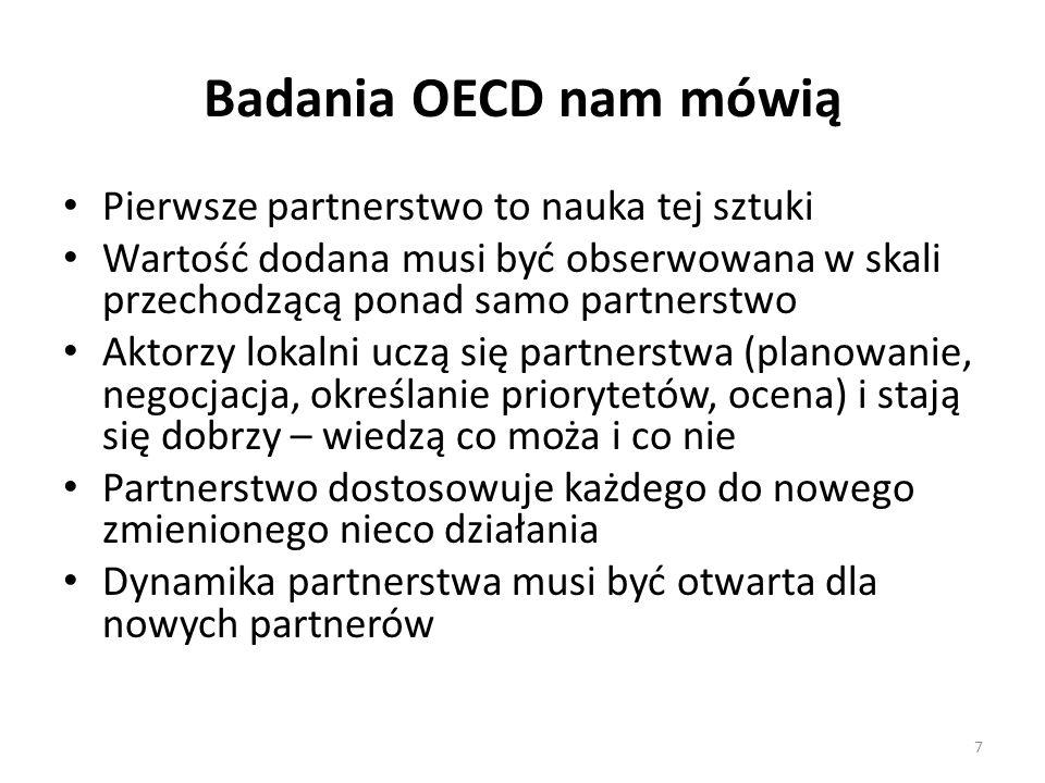 Badania OECD nam mówią Pierwsze partnerstwo to nauka tej sztuki Wartość dodana musi być obserwowana w skali przechodzącą ponad samo partnerstwo Aktorzy lokalni uczą się partnerstwa (planowanie, negocjacja, określanie priorytetów, ocena) i stają się dobrzy – wiedzą co moża i co nie Partnerstwo dostosowuje każdego do nowego zmienionego nieco działania Dynamika partnerstwa musi być otwarta dla nowych partnerów 7