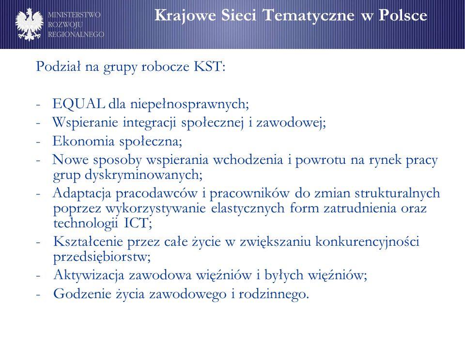 Krajowe Sieci Tematyczne w Polsce Podział na grupy robocze KST: - EQUAL dla niepełnosprawnych; - Wspieranie integracji społecznej i zawodowej; - Ekonomia społeczna; - Nowe sposoby wspierania wchodzenia i powrotu na rynek pracy grup dyskryminowanych; - Adaptacja pracodawców i pracowników do zmian strukturalnych poprzez wykorzystywanie elastycznych form zatrudnienia oraz technologii ICT; -Kształcenie przez całe życie w zwiększaniu konkurencyjności przedsiębiorstw; -Aktywizacja zawodowa więźniów i byłych więźniów; -Godzenie życia zawodowego i rodzinnego.