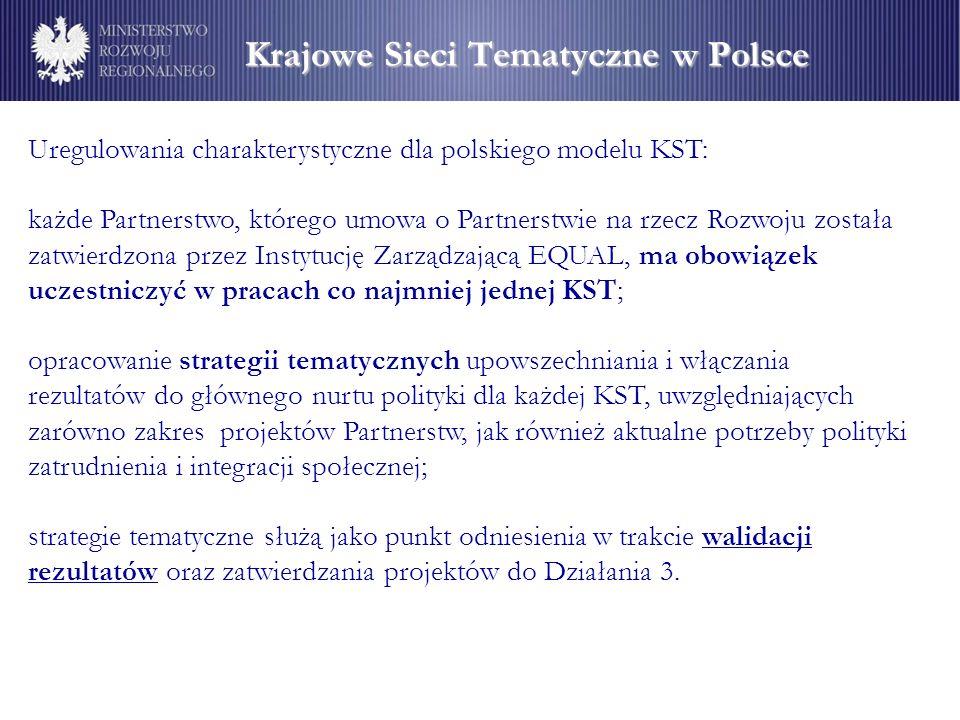 Krajowe Sieci Tematyczne w Polsce Krajowe Sieci Tematyczne w Polsce Uregulowania charakterystyczne dla polskiego modelu KST: każde Partnerstwo, którego umowa o Partnerstwie na rzecz Rozwoju została zatwierdzona przez Instytucję Zarządzającą EQUAL, ma obowiązek uczestniczyć w pracach co najmniej jednej KST; opracowanie strategii tematycznych upowszechniania i włączania rezultatów do głównego nurtu polityki dla każdej KST, uwzględniających zarówno zakres projektów Partnerstw, jak również aktualne potrzeby polityki zatrudnienia i integracji społecznej; strategie tematyczne służą jako punkt odniesienia w trakcie walidacji rezultatów oraz zatwierdzania projektów do Działania 3.