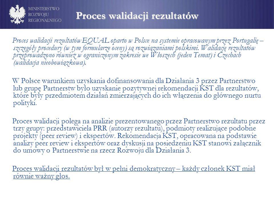 Proces walidacji rezultatów Proces walidacji rezultatów EQUAL oparto w Polsce na systemie opracowanym przez Portugalię – szczegóły procedury (w tym formularze oceny) są rozwiązaniami polskimi.