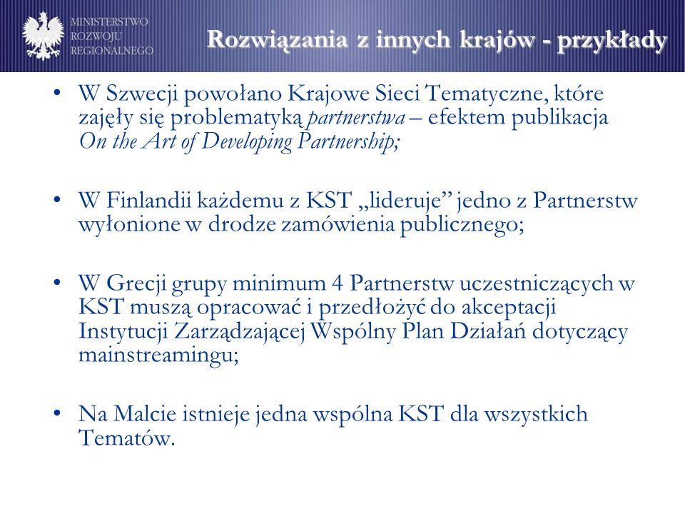 """Rozwiązania z innych krajów - przykłady W Szwecji powołano Krajowe Sieci Tematyczne, które zajęły się problematyką partnerstwa – efektem publikacja On the Art of Developing Partnership; W Finlandii każdemu z KST """"lideruje jedno z Partnerstw wyłonione w drodze zamówienia publicznego; W Grecji grupy minimum 4 Partnerstw uczestniczących w KST muszą opracować i przedłożyć do akceptacji Instytucji Zarządzającej Wspólny Plan Działań dotyczący mainstreamingu; Na Malcie istnieje jedna wspólna KST dla wszystkich Tematów."""