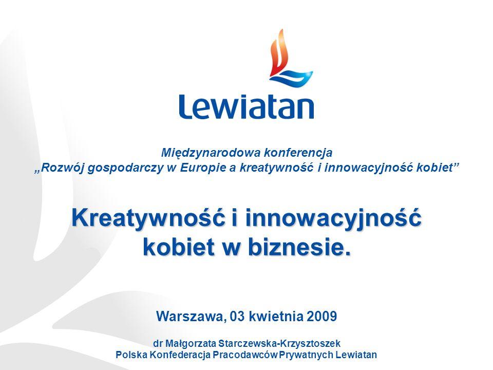 Kreatywność i innowacyjność kobiet w biznesie. Warszawa, 03 kwietnia 2009 dr Małgorzata Starczewska-Krzysztoszek Polska Konfederacja Pracodawców Prywa