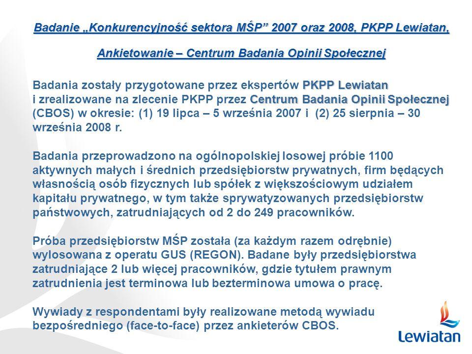 """Badanie """"Konkurencyjność sektora MŚP"""" 2007 oraz 2008, PKPP Lewiatan, Ankietowanie – Centrum Badania Opinii Społecznej PKPP Lewiatan Badania zostały pr"""