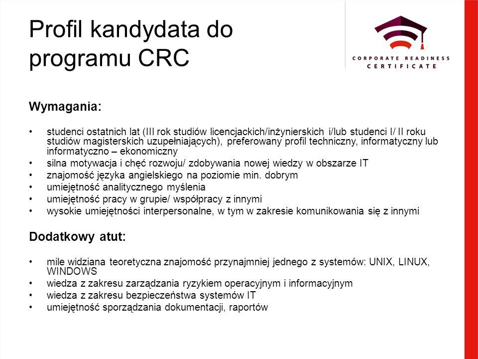 Profil kandydata do programu CRC Wymagania: studenci ostatnich lat (III rok studiów licencjackich/inżynierskich i/lub studenci I/ II roku studiów magisterskich uzupełniających), preferowany profil techniczny, informatyczny lub informatyczno – ekonomiczny silna motywacja i chęć rozwoju/ zdobywania nowej wiedzy w obszarze IT znajomość języka angielskiego na poziomie min.