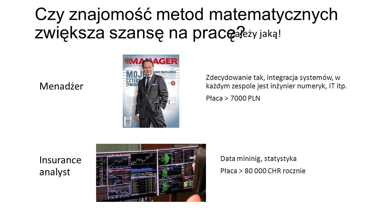 Menadżer Zdecydowanie tak, integracja systemów, w każdym zespole jest inżynier numeryk, IT itp. Płaca > 7000 PLN Insurance analyst Data mininig, staty