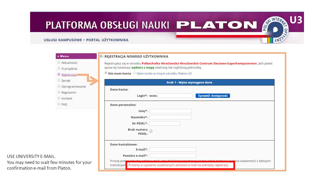 USE UNIVERSITY E-MAIL. You may need to wait few minutes for your confirmation e-mail from Platon.