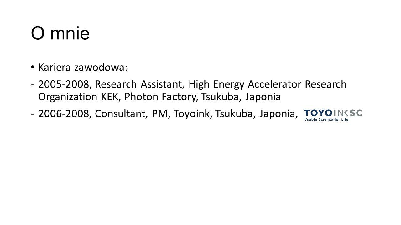 O mnie Kariera zawodowa: -2005-2008, Research Assistant, High Energy Accelerator Research Organization KEK, Photon Factory, Tsukuba, Japonia -2006-2008, Consultant, Toyoink, Tsukuba, Japonia, -2008-2011, Asystent, Instytut Chemii Fizycznej, PWr.