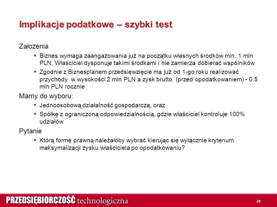 24 Implikacje podatkowe – szybki test Założenia  Biznes wymaga zaangażowania już na początku własnych środków min.