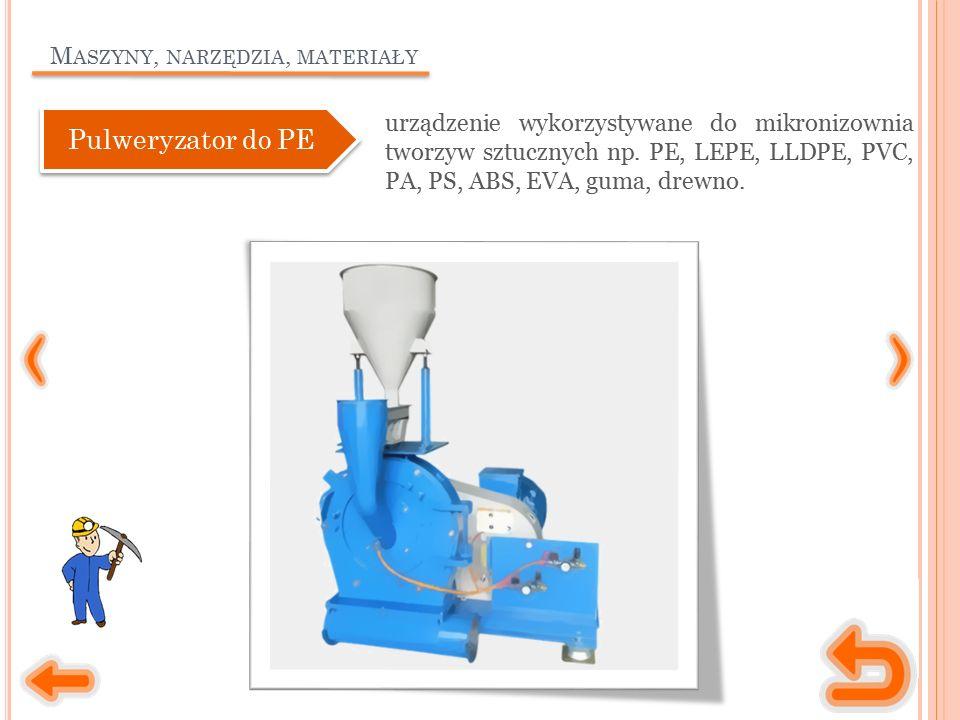 M ASZYNY, NARZĘDZIA, MATERIAŁY urządzenie wykorzystywane do mikronizownia tworzyw sztucznych np. PE, LEPE, LLDPE, PVC, PA, PS, ABS, EVA, guma, drewno.