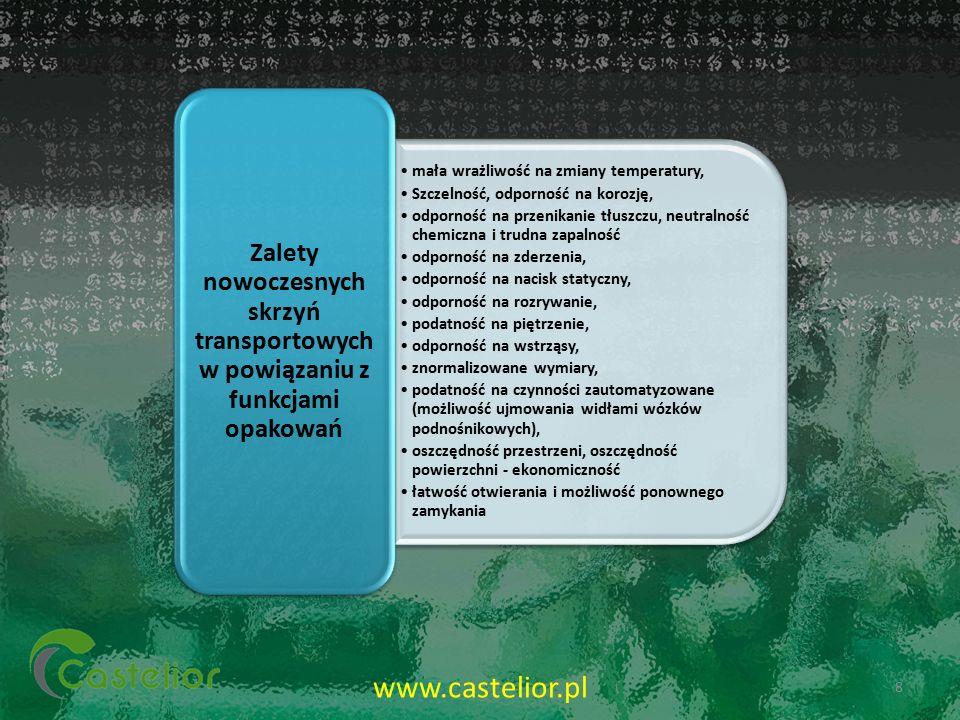 mała wrażliwość na zmiany temperatury, Szczelność, odporność na korozję, odporność na przenikanie tłuszczu, neutralność chemiczna i trudna zapalność o