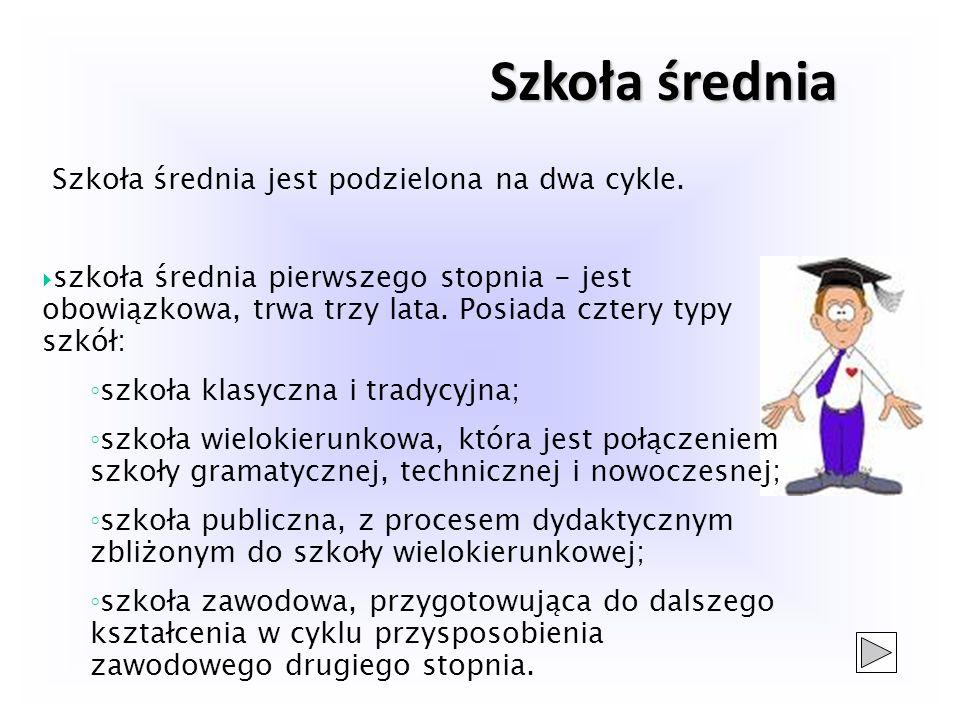 Szkoła średnia Szkoła średnia jest podzielona na dwa cykle.