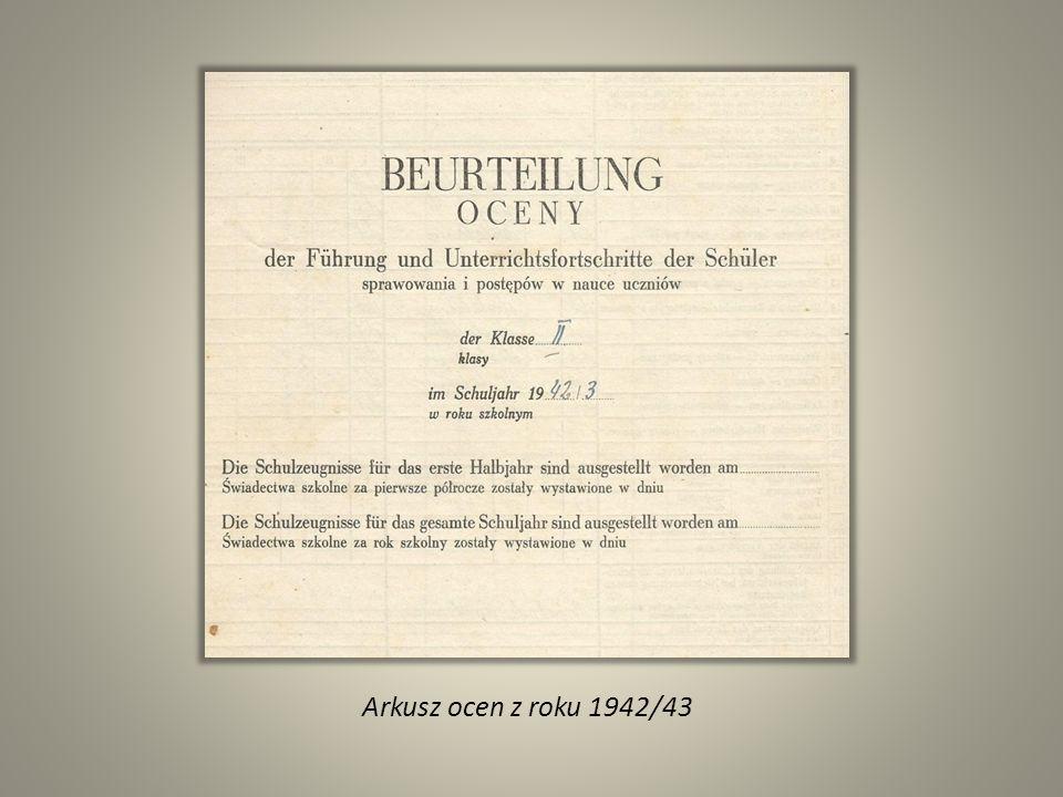 Arkusz ocen z roku 1942/43