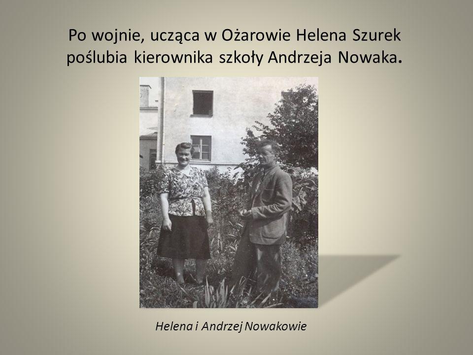 Helena i Andrzej Nowakowie Po wojnie, ucząca w Ożarowie Helena Szurek poślubia kierownika szkoły Andrzeja Nowaka.