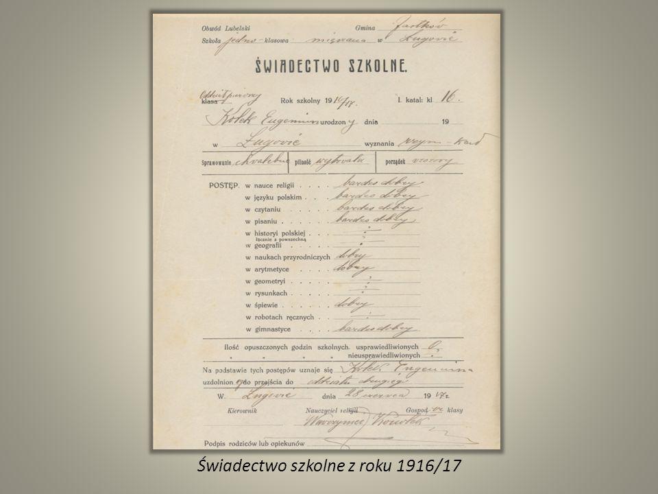 Świadectwo szkolne z roku 1916/17