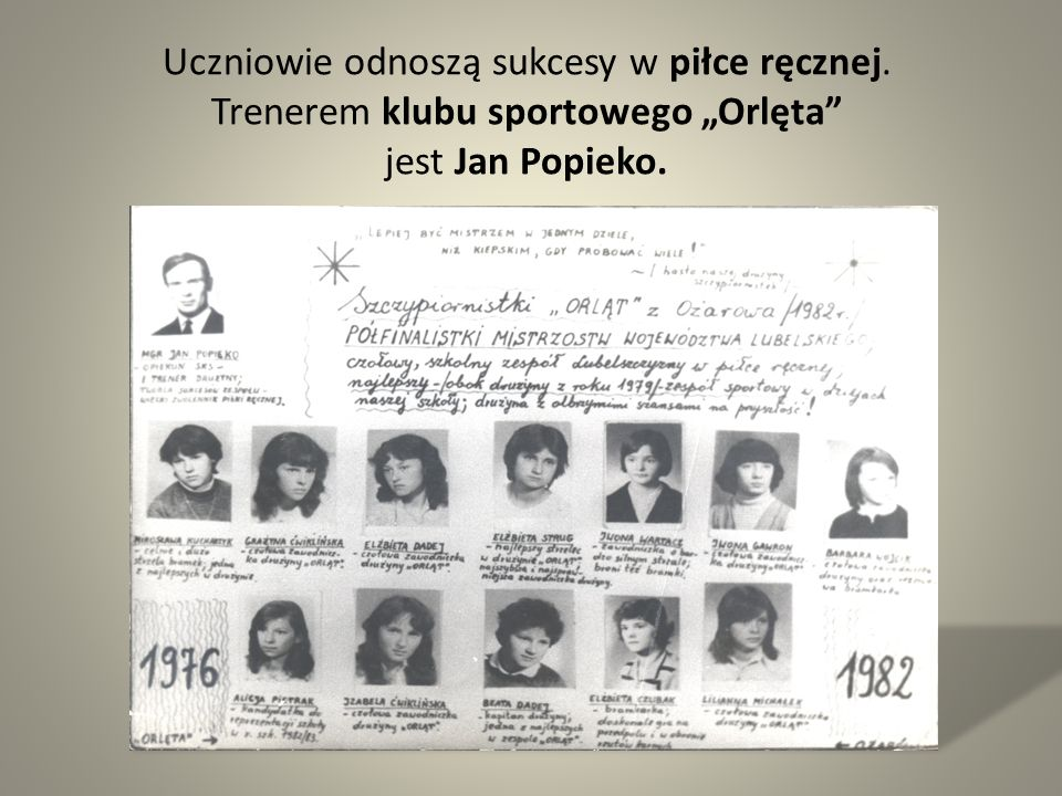 """Uczniowie odnoszą sukcesy w piłce ręcznej. Trenerem klubu sportowego """"Orlęta"""" jest Jan Popieko."""