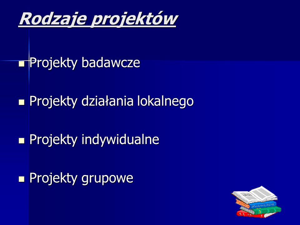 Rodzaje projektów Projekty badawcze Projekty badawcze Projekty działania lokalnego Projekty działania lokalnego Projekty indywidualne Projekty indywidualne Projekty grupowe Projekty grupowe