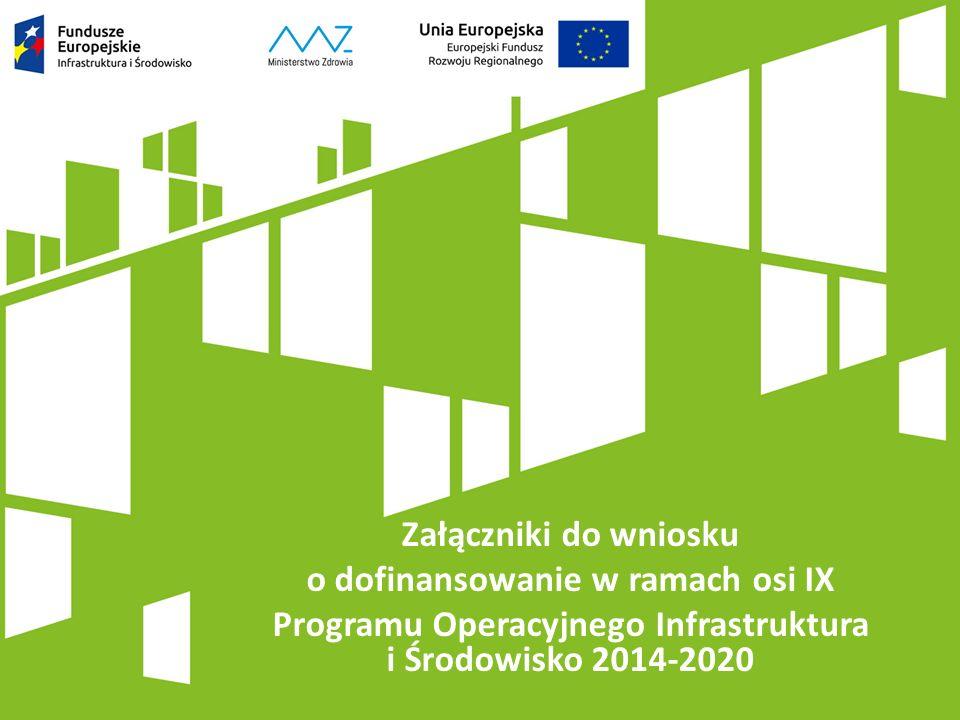 Załączniki do wniosku o dofinansowanie w ramach osi IX Programu Operacyjnego Infrastruktura i Środowisko 2014-2020