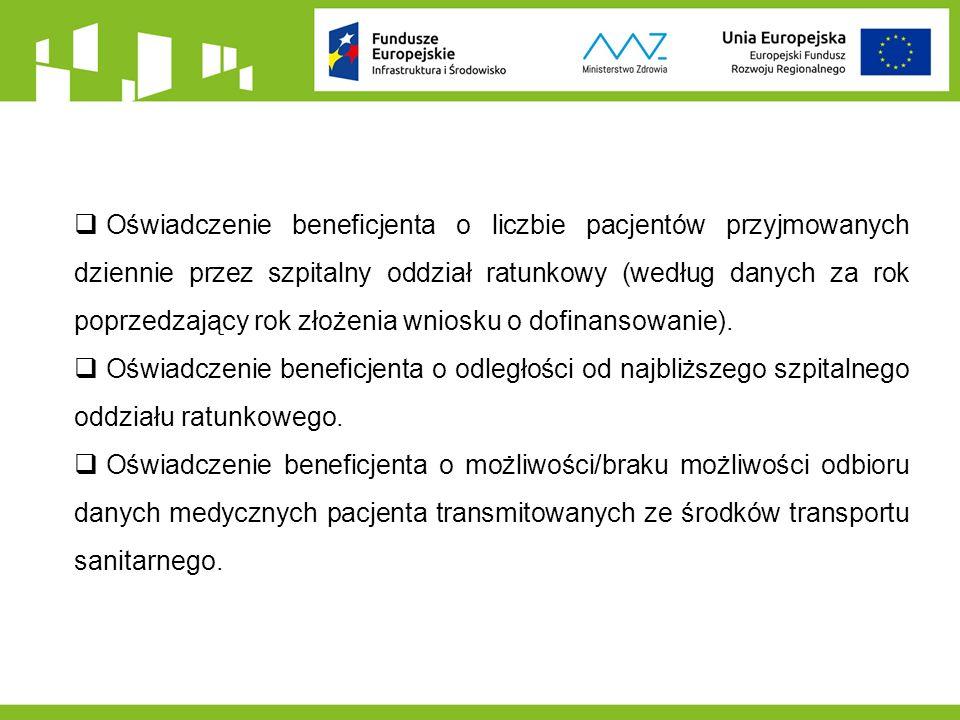  Oświadczenie beneficjenta o liczbie pacjentów przyjmowanych dziennie przez szpitalny oddział ratunkowy (według danych za rok poprzedzający rok złożenia wniosku o dofinansowanie).