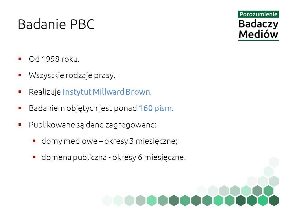 Badanie PBC  Od 1998 roku.  Wszystkie rodzaje prasy.  Realizuje Instytut Millward Brown.  Badaniem objętych jest ponad 160 pism.  Publikowane są