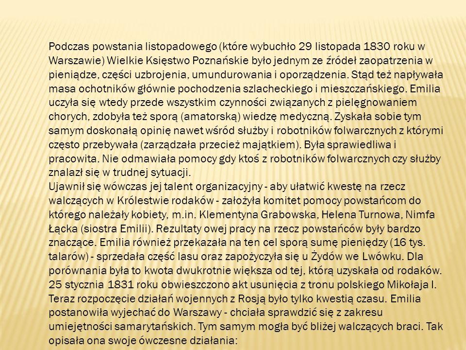 Podczas powstania listopadowego (które wybuchło 29 listopada 1830 roku w Warszawie) Wielkie Księstwo Poznańskie było jednym ze źródeł zaopatrzenia w pieniądze, części uzbrojenia, umundurowania i oporządzenia.