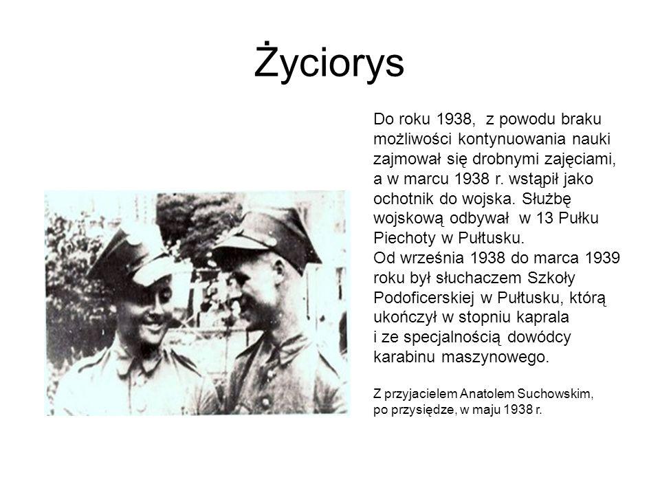 Życiorys Do roku 1938, z powodu braku możliwości kontynuowania nauki zajmował się drobnymi zajęciami, a w marcu 1938 r. wstąpił jako ochotnik do wojsk
