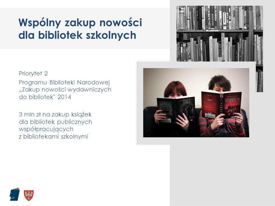 """Wspólny zakup nowości dla bibliotek szkolnych Priorytet 2 Programu Biblioteki Narodowej """"Zakup nowości wydawniczych do bibliotek"""