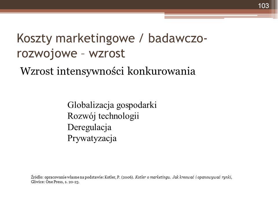 Koszty marketingowe / badawczo- rozwojowe – wzrost Wzrost intensywności konkurowania 103 Globalizacja gospodarki Rozwój technologii Deregulacja Prywat