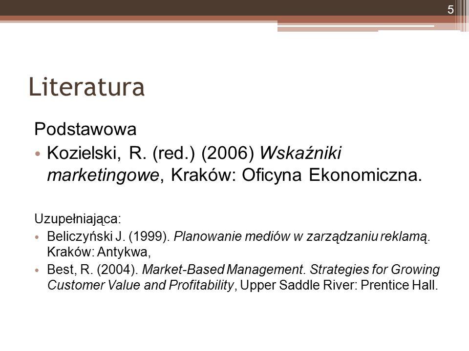 Literatura Podstawowa Kozielski, R. (red.) (2006) Wskaźniki marketingowe, Kraków: Oficyna Ekonomiczna. Uzupełniająca: Beliczyński J. (1999). Planowani