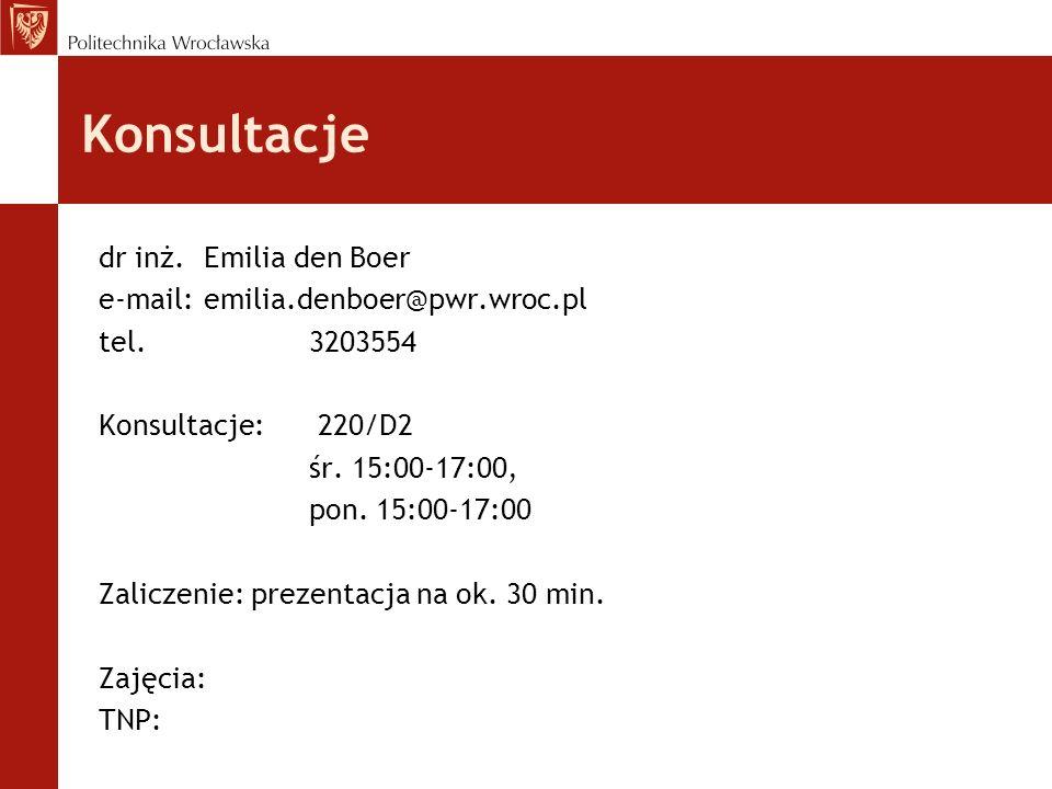 Konsultacje dr inż. Emilia den Boer e-mail: emilia.denboer@pwr.wroc.pl tel.