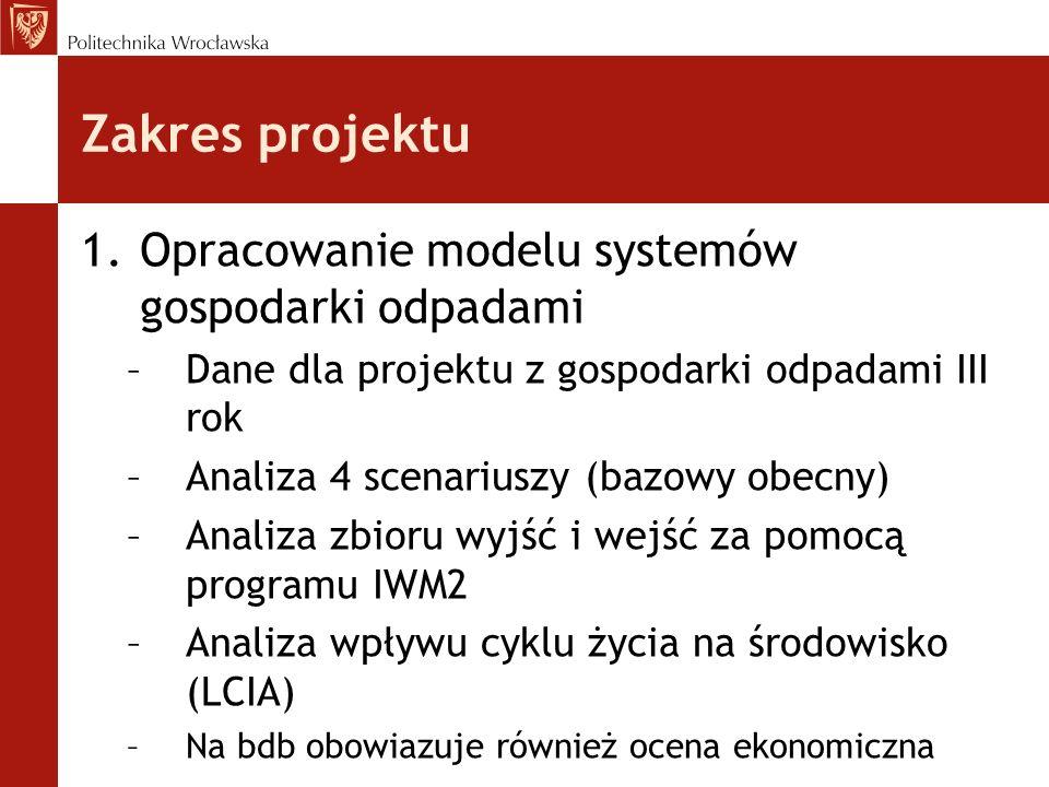 Zakres projektu 1.Opracowanie modelu systemów gospodarki odpadami –Dane dla projektu z gospodarki odpadami III rok –Analiza 4 scenariuszy (bazowy obecny) –Analiza zbioru wyjść i wejść za pomocą programu IWM2 –Analiza wpływu cyklu życia na środowisko (LCIA) –Na bdb obowiazuje również ocena ekonomiczna