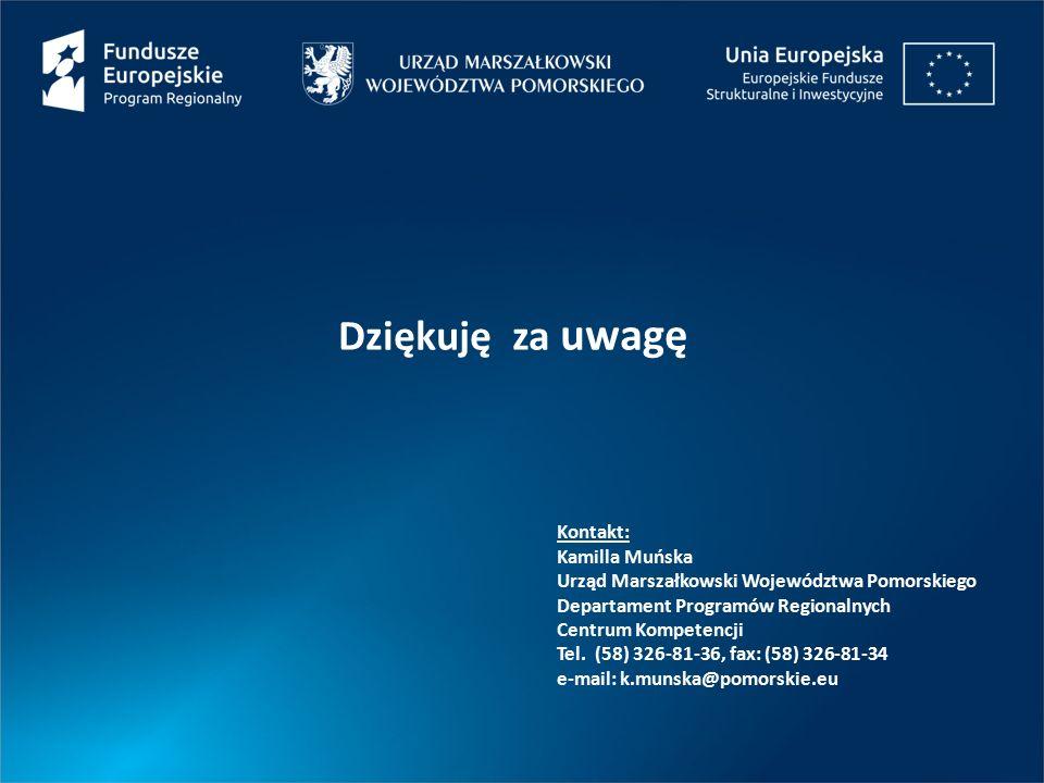 Dziękuję za uwagę Kontakt: Kamilla Muńska Urząd Marszałkowski Województwa Pomorskiego Departament Programów Regionalnych Centrum Kompetencji Tel. (58)
