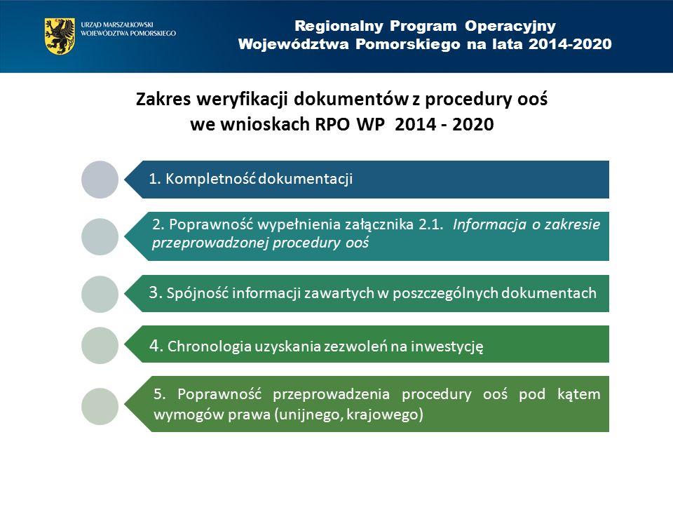 Regionalny Program Operacyjny Województwa Pomorskiego na lata 2014-2020 Zakres weryfikacji dokumentów z procedury ooś we wnioskach RPO WP 2014 - 2020