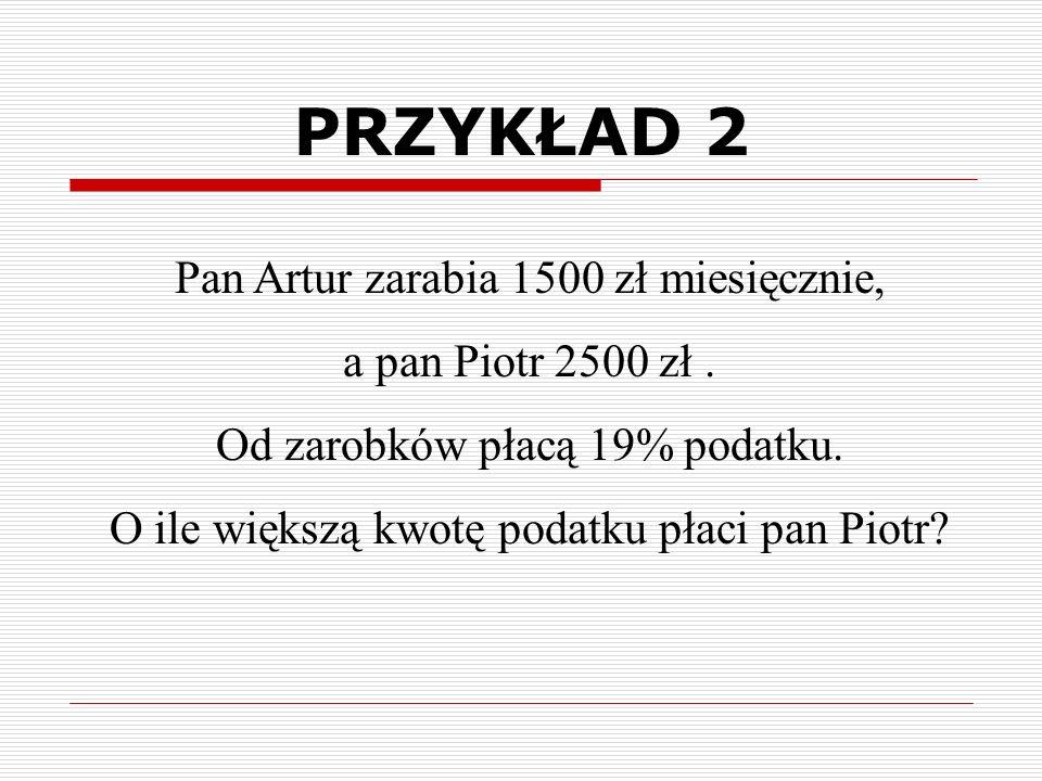 Pan Artur zarabia 1500 zł miesięcznie, a pan Piotr 2500 zł.