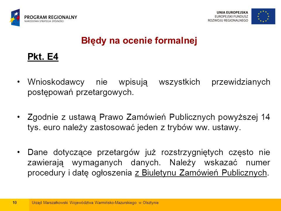 Pkt. E4 Wnioskodawcy nie wpisują wszystkich przewidzianych postępowań przetargowych.