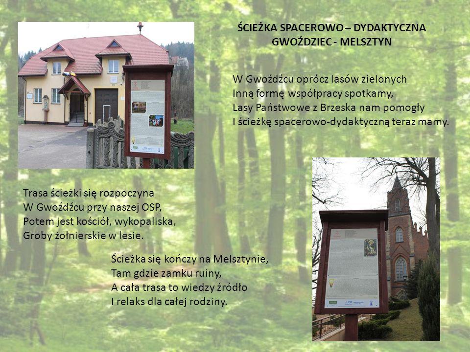 W Gwoźdźcu oprócz lasów zielonych Inną formę współpracy spotkamy, Lasy Państwowe z Brzeska nam pomogły I ścieżkę spacerowo-dydaktyczną teraz mamy. ŚCI