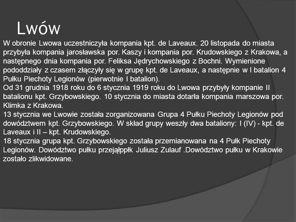 Na początku lutego 1919 struktura organizacyjna pułku przedstawiała się następująco: Dowództwo 4 pp Leg.