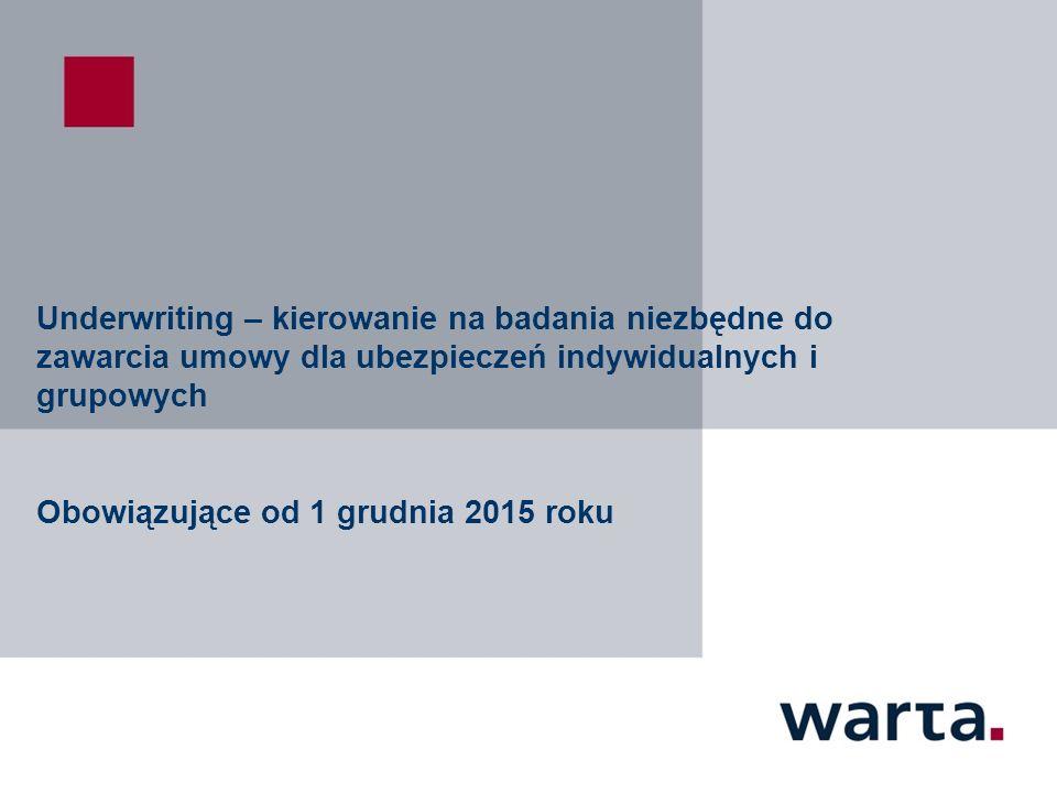 Underwriting – kierowanie na badania niezbędne do zawarcia umowy dla ubezpieczeń indywidualnych i grupowych Obowiązujące od 1 grudnia 2015 roku