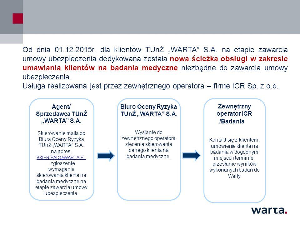 """Od dnia 01.12.2015r. dla klientów TUnŻ """"WARTA"""" S.A. na etapie zawarcia umowy ubezpieczenia dedykowana została nowa ścieżka obsługi w zakresie umawiani"""