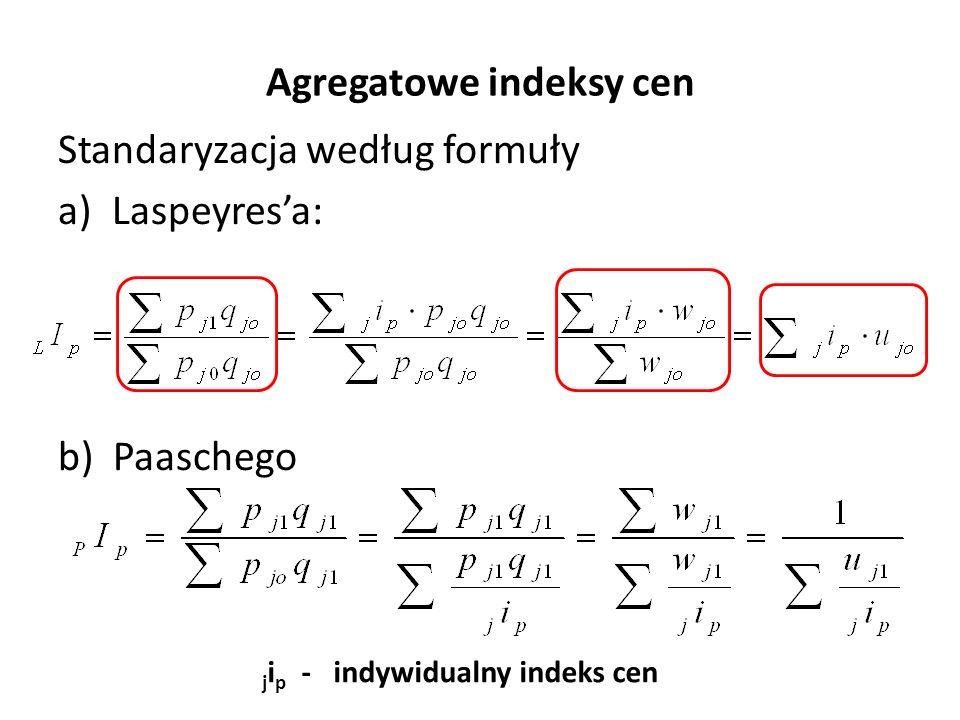 Agregatowe indeksy cen Standaryzacja według formuły a)Laspeyres'a: b) Paaschego j i p - indywidualny indeks cen