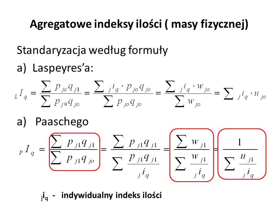 Agregatowe indeksy ilości ( masy fizycznej) Standaryzacja według formuły a)Laspeyres'a: a) Paaschego j i q - indywidualny indeks ilości