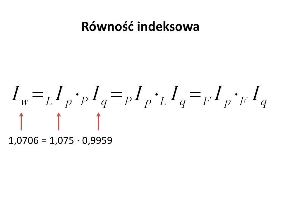 Równość indeksowa 1,0706 = 1,075 ∙ 0,9959
