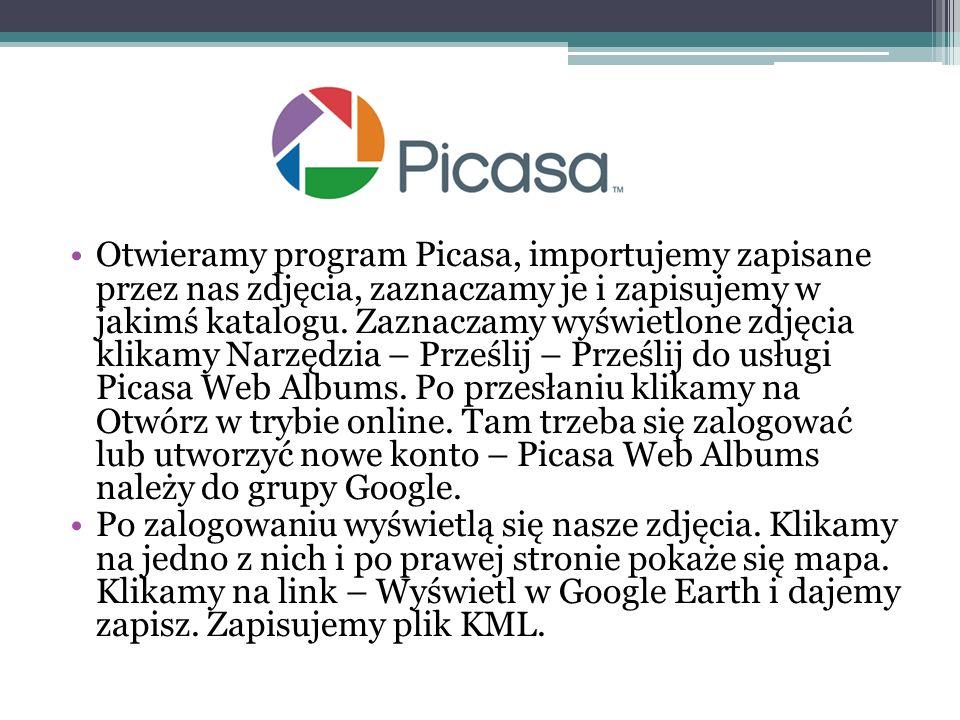 Otwieramy program Picasa, importujemy zapisane przez nas zdjęcia, zaznaczamy je i zapisujemy w jakimś katalogu. Zaznaczamy wyświetlone zdjęcia klikamy