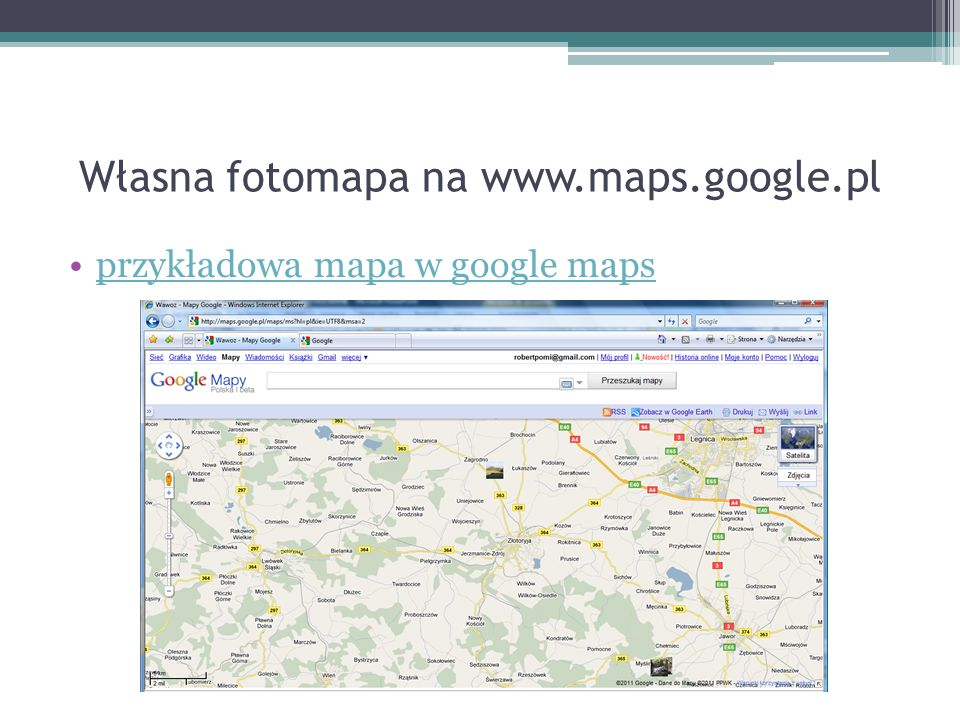 Własna fotomapa na www.maps.google.pl przykładowa mapa w google maps