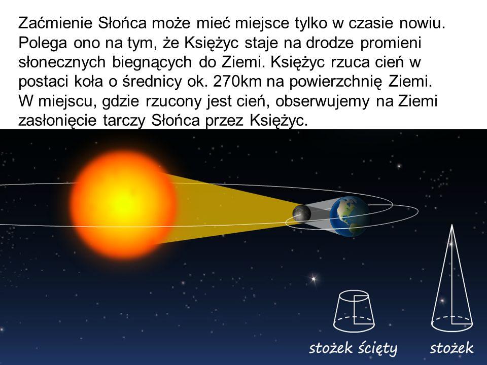 Zaćmienie Słońca może mieć miejsce tylko w czasie nowiu. Polega ono na tym, że Księżyc staje na drodze promieni słonecznych biegnących do Ziemi. Księż