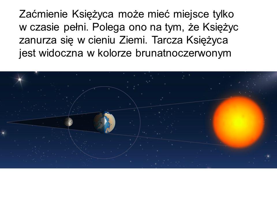 Zaćmienie Księżyca może mieć miejsce tylko w czasie pełni. Polega ono na tym, że Księżyc zanurza się w cieniu Ziemi. Tarcza Księżyca jest widoczna w k
