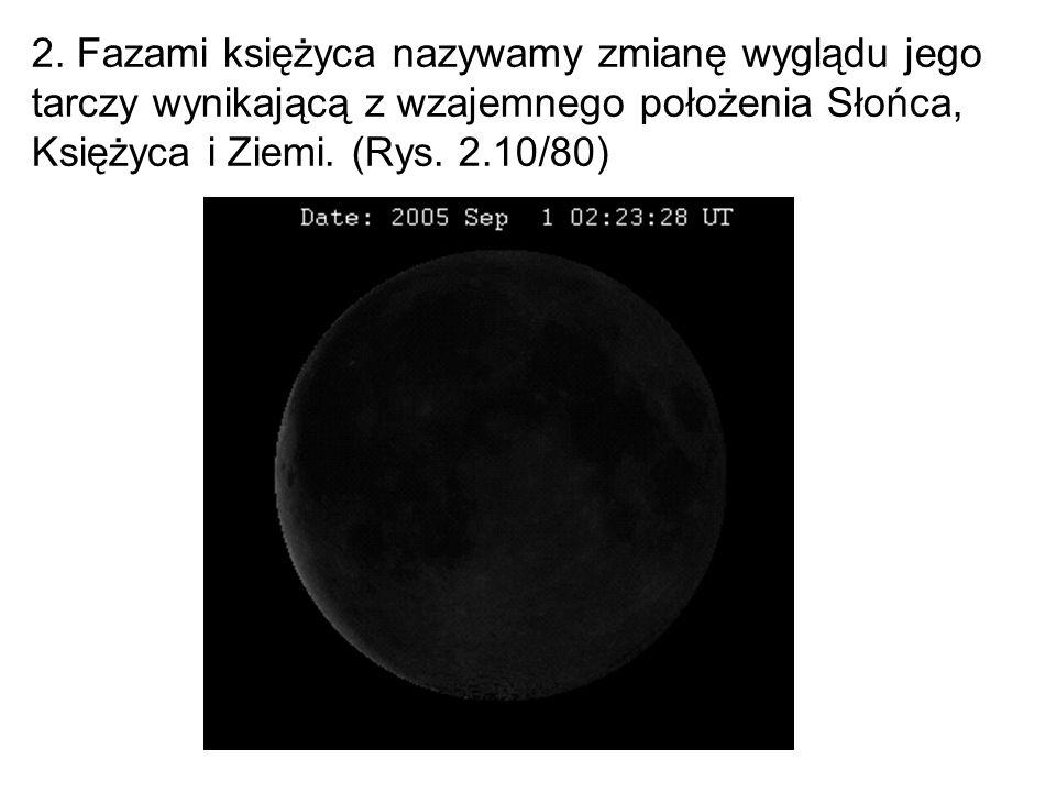 2. Fazami księżyca nazywamy zmianę wyglądu jego tarczy wynikającą z wzajemnego położenia Słońca, Księżyca i Ziemi. (Rys. 2.10/80)