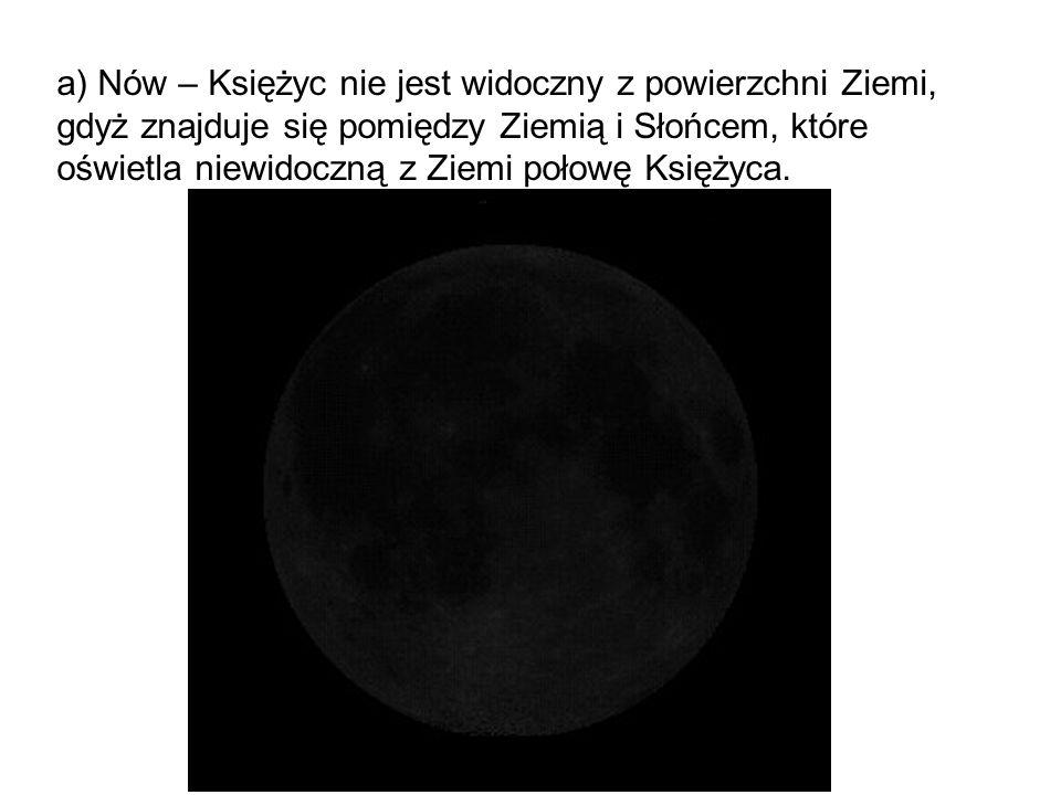 a) Nów – Księżyc nie jest widoczny z powierzchni Ziemi, gdyż znajduje się pomiędzy Ziemią i Słońcem, które oświetla niewidoczną z Ziemi połowę Księżyca.